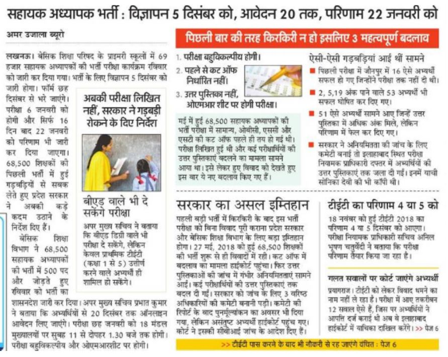 Primary Teacher Vacancy in UP Latest News in Hindi