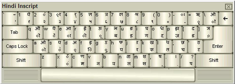 Inscript Keyboard layout for MP CPCT Hindi Typing